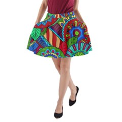 Pop Art Paisley Flowers Ornaments Multicolored 2 A Line Pocket Skirt by EDDArt