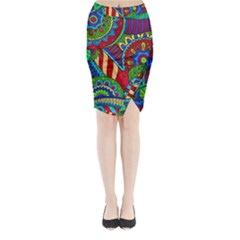 Pop Art Paisley Flowers Ornaments Multicolored 2 Midi Wrap Pencil Skirt by EDDArt