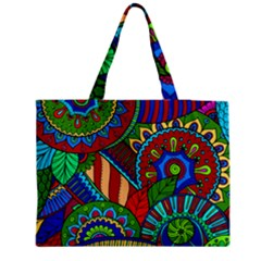 Pop Art Paisley Flowers Ornaments Multicolored 2 Medium Tote Bag by EDDArt