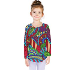Pop Art Paisley Flowers Ornaments Multicolored 2 Kids  Long Sleeve Tee