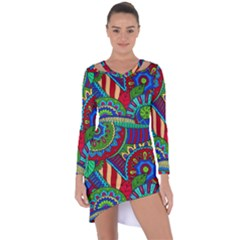 Pop Art Paisley Flowers Ornaments Multicolored 2 Asymmetric Cut Out Shift Dress