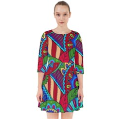 Pop Art Paisley Flowers Ornaments Multicolored 2 Smock Dress by EDDArt