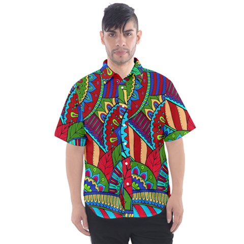 Pop Art Paisley Flowers Ornaments Multicolored 2 Men s Short Sleeve Shirt by EDDArt