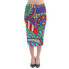 Pop Art Paisley Flowers Ornaments Multicolored 2 Velvet Midi Pencil Skirt by EDDArt