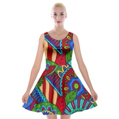 Pop Art Paisley Flowers Ornaments Multicolored 2 Velvet Skater Dress