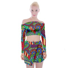 Pop Art Paisley Flowers Ornaments Multicolored 2 Off Shoulder Top With Mini Skirt Set