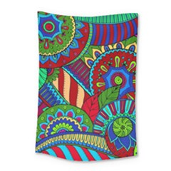 Pop Art Paisley Flowers Ornaments Multicolored 2 Small Tapestry by EDDArt