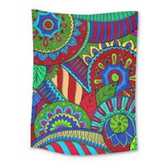 Pop Art Paisley Flowers Ornaments Multicolored 2 Medium Tapestry by EDDArt