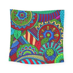 Pop Art Paisley Flowers Ornaments Multicolored 2 Square Tapestry (small) by EDDArt