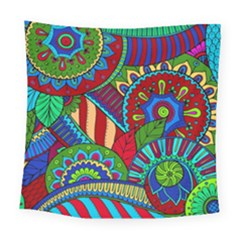Pop Art Paisley Flowers Ornaments Multicolored 2 Square Tapestry (large) by EDDArt