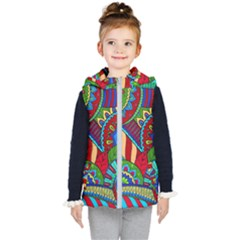 Pop Art Paisley Flowers Ornaments Multicolored 2 Kid s Hooded Puffer Vest