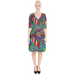 Pop Art Paisley Flowers Ornaments Multicolored 2 Wrap Up Cocktail Dress by EDDArt