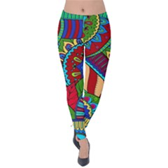 Pop Art Paisley Flowers Ornaments Multicolored 2 Velvet Leggings by EDDArt