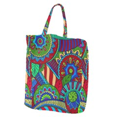 Pop Art Paisley Flowers Ornaments Multicolored 2 Giant Grocery Tote by EDDArt