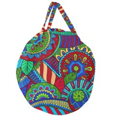 Pop Art Paisley Flowers Ornaments Multicolored 2 Giant Round Zipper Tote by EDDArt