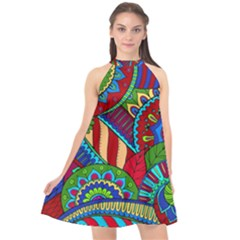 Pop Art Paisley Flowers Ornaments Multicolored 2 Halter Neckline Chiffon Dress