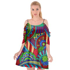 Pop Art Paisley Flowers Ornaments Multicolored 2 Cutout Spaghetti Strap Chiffon Dress