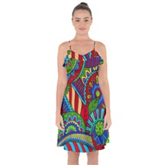 Pop Art Paisley Flowers Ornaments Multicolored 2 Ruffle Detail Chiffon Dress
