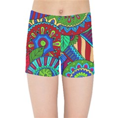 Pop Art Paisley Flowers Ornaments Multicolored 2 Kids Sports Shorts