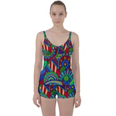 Pop Art Paisley Flowers Ornaments Multicolored 2 Tie Front Two Piece Tankini