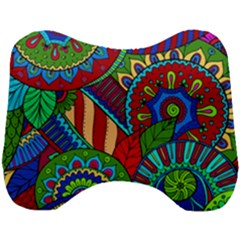 Pop Art Paisley Flowers Ornaments Multicolored 2 Head Support Cushion by EDDArt