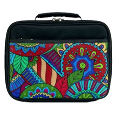 Pop Art Paisley Flowers Ornaments Multicolored 2 Lunch Bag by EDDArt