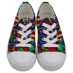 Pop Art Paisley Flowers Ornaments Multicolored 2 Kids  Low Top Canvas Sneakers