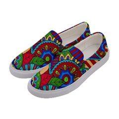 Pop Art Paisley Flowers Ornaments Multicolored 2 Women s Canvas Slip Ons by EDDArt