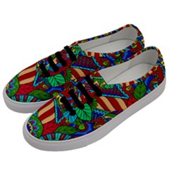 Pop Art Paisley Flowers Ornaments Multicolored 2 Men s Classic Low Top Sneakers by EDDArt