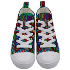 Pop Art Paisley Flowers Ornaments Multicolored 2 Kid s Mid Top Canvas Sneakers