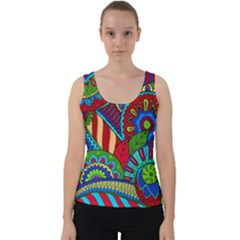 Pop Art Paisley Flowers Ornaments Multicolored 2 Velvet Tank Top