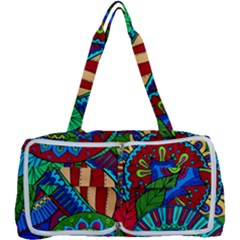 Pop Art Paisley Flowers Ornaments Multicolored 2 Multi Function Bag	 by EDDArt