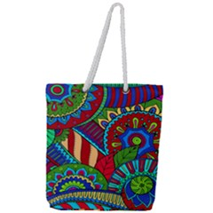 Pop Art Paisley Flowers Ornaments Multicolored 2 Full Print Rope Handle Tote (large) by EDDArt