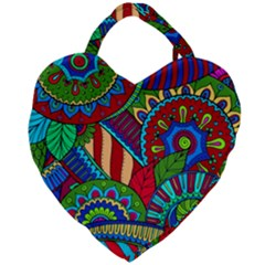 Pop Art Paisley Flowers Ornaments Multicolored 2 Giant Heart Shaped Tote