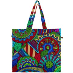 Pop Art Paisley Flowers Ornaments Multicolored 2 Canvas Travel Bag by EDDArt