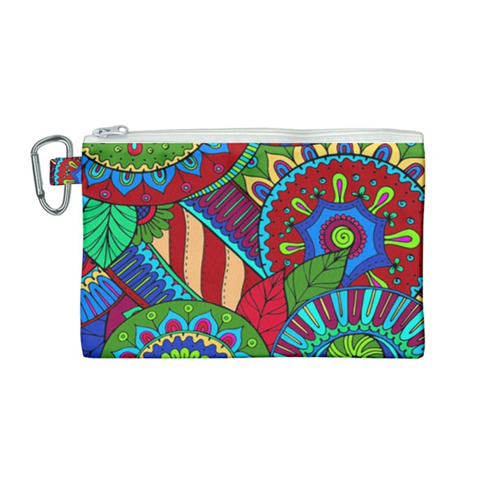Pop Art Paisley Flowers Ornaments Multicolored 2 Canvas Cosmetic Bag (Medium)