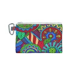 Pop Art Paisley Flowers Ornaments Multicolored 2 Canvas Cosmetic Bag (small) by EDDArt