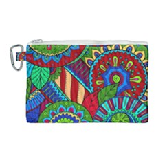 Pop Art Paisley Flowers Ornaments Multicolored 2 Canvas Cosmetic Bag (large) by EDDArt