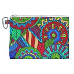 Pop Art Paisley Flowers Ornaments Multicolored 2 Canvas Cosmetic Bag (xl) by EDDArt