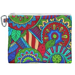 Pop Art Paisley Flowers Ornaments Multicolored 2 Canvas Cosmetic Bag (xxl) by EDDArt