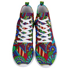 Pop Art Paisley Flowers Ornaments Multicolored 2 Men s Lightweight High Top Sneakers by EDDArt