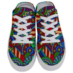 Pop Art Paisley Flowers Ornaments Multicolored 2 Half Slippers by EDDArt