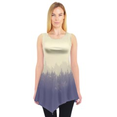 Cloudy Foggy Forest With Pine Trees Sleeveless Tunic by genx