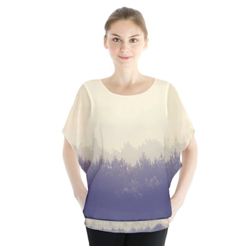 Cloudy Foggy Forest With Pine Trees Blouse by genx