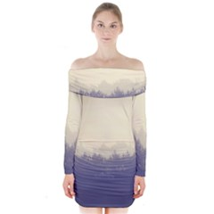 Cloudy Foggy Forest With Pine Trees Long Sleeve Off Shoulder Dress