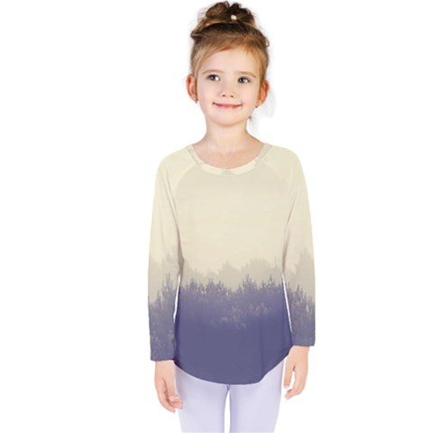 Cloudy Foggy Forest With Pine Trees Kids  Long Sleeve Tee by genx