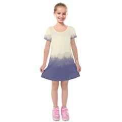 Cloudy Foggy Forest With Pine Trees Kids  Short Sleeve Velvet Dress by genx