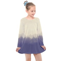Cloudy Foggy Forest With Pine Trees Kids  Long Sleeve Dress by genx