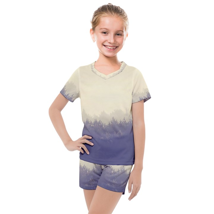 Cloudy Foggy Forest with pine trees Kids  Mesh Tee and Shorts Set