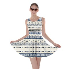 Native American Ornaments Watercolor Pattern Blue Skater Dress
